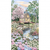 Novelty - Peaceful Garden Chapel Multi Digitally Printed Panel