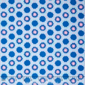 Radiant Girl - Flower White Blue Metallic Yardage