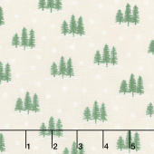 Holiday Lodge - Trees Winter White Yardage