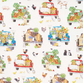 Down on the Farm - Trucks Dogs Multi Digitally Printed Yardage