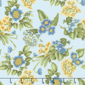 Avery Hill - Blue Flowers Sky Metallic Yardage