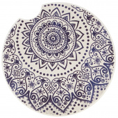 Indigo Patterns Car Coaster - Spiral Medallion
