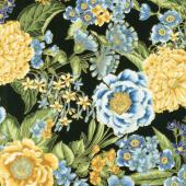 Avery Hill - Blue Flowers Black Metallic Yardage