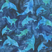 Artisan Batiks - Totally Tropical Dolphins Teal Yardage
