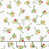 Lil' Sprout Too! - Sprouts n' Hearts Tossed White Flannel Yardage