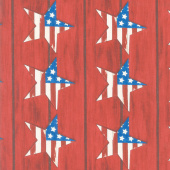 America the Beautiful - Large Stars Barnwood Red Yardage