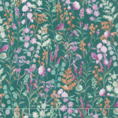 Lilac & Sage - Wildflowers Basil Copper Pearl Metallic Yardage