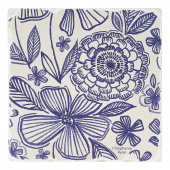 Indigo Patterns Coaster - Mixed Flowers