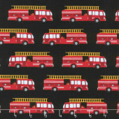 Fire Pups - Fire Truck Black Yardage