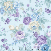 Twilight Garden - Allover Floral Spa Blue Yardage