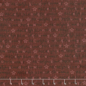 Berries and Blossoms - Alphabet Dark Red Yardage