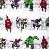 Marvel Comics III - Price & Hero Stripe White Yardage