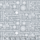 Winter Games - Text Grey Yardage