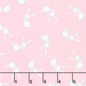 Penned Pals Flannel - Pink Colorstory Bunnies Baby Pink Yardage