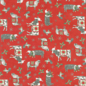 Homegrown Holidays - Farmyard Holiday Barn Red Yardage