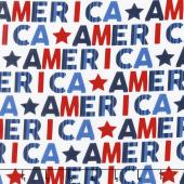 Red, White and Starry Blue - America White Yardage