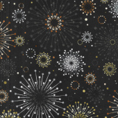 Shiny Objects - Precious Metals Sparklers Radiant Rose Gold with Black Glitter Yardage