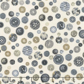 Material Girl - Buttons Gray Multi Yardage