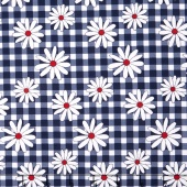 Gingham Girls - Gingham Daisy Navy Yardage