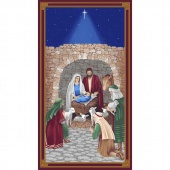 Silent Night - Nativity Scene Blue Panel