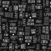 Love the Earth - Nature Lover Black Yardage