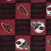 NFL Fleece - Arizona Cardinals Red/Black Yardage