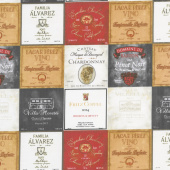 Wine Night - Wine Labels Gray Multi Yardage