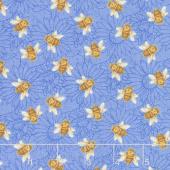 My Sunflower Garden - Tossed Bees Blue Multi Yardage