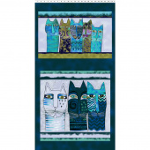 Feline Frolic - Dark Teal Metallic Pillow Panel
