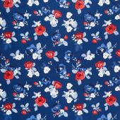 Land of Liberty - Floral Main Navy Yardage