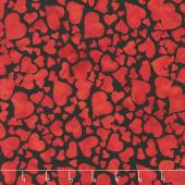 Heart to Heart Batiks - Tossed Hearts Black Yardage