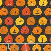 Fright Night - Pumpkins Black Yardage