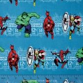 Marvel Comics III - Price & Hero Stripe Teal Yardage