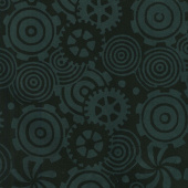 Geared Up Batiks - Gears Black Yardage