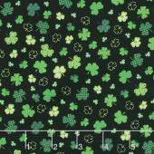 Irish Folk - Shamrocks Black Yardage