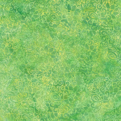 William's Garden Batiks - Swirl Outline Floral Lemon Lime Yardage