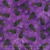 Frightful Night - Cats Toss Purple Yardage