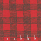 Farm Fresh - Rustic Gingham Rooster Red Yardage
