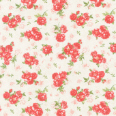 Garden Rose - Small Red Rose Bouquets Cream Yardage