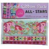 Tula Pink All Stars Aqua Raccoons Designer Ribbon Pack