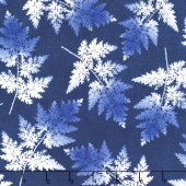 Indi-glow - Ferns Blue Yardage