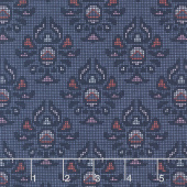 Midnight Rose - Damask Navy Yardage