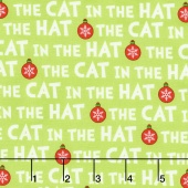 The Cat in the Hat Christmas - Christmas Cat Text Green Yardage