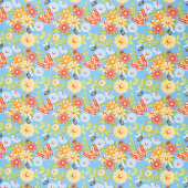 Gnome is Where Your Garden Grows - Butterflies and Flowers Blue Yardage