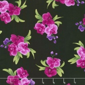 Wild Orchid - Spaced Orchid Bouquets Black Yardage