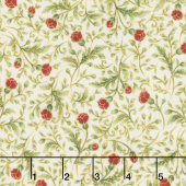 Gilded Blooms - Flowers Ivory Metallic Yardage