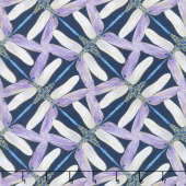 Dragonfly Dance - Blue Pinwheel Geometric Navy Violet Metallic Yardage
