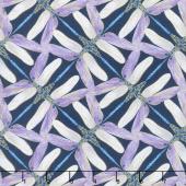 Dragonfly Dance - Blue Pinwheel Geometric Navy Violet Metallic Yardage