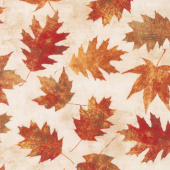 Amber Reflections - Leaves Allover Ivory Yardage