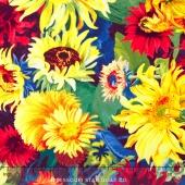 Flowers of the Sun - Medium Packed Sunflowers Gold Multi Yardage